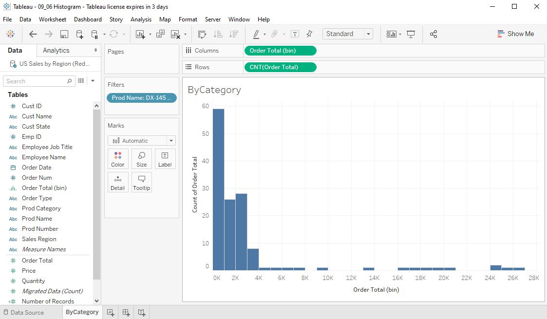Tableau Histograms Step 9